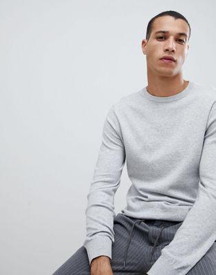 Burton Menswear crew neck jumper in grey