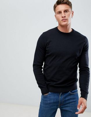 Image 1 of Burton Menswear crew neck sweater in black