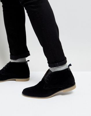 Burton Menswear Desert Boots In Black