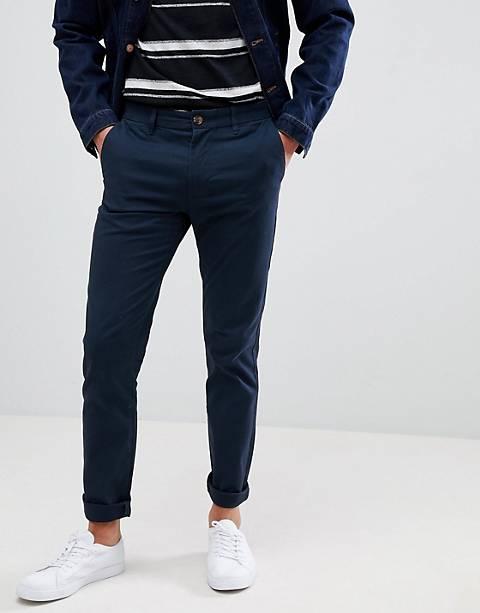 Burton Menswear – Enge Chinohose in Marineblau