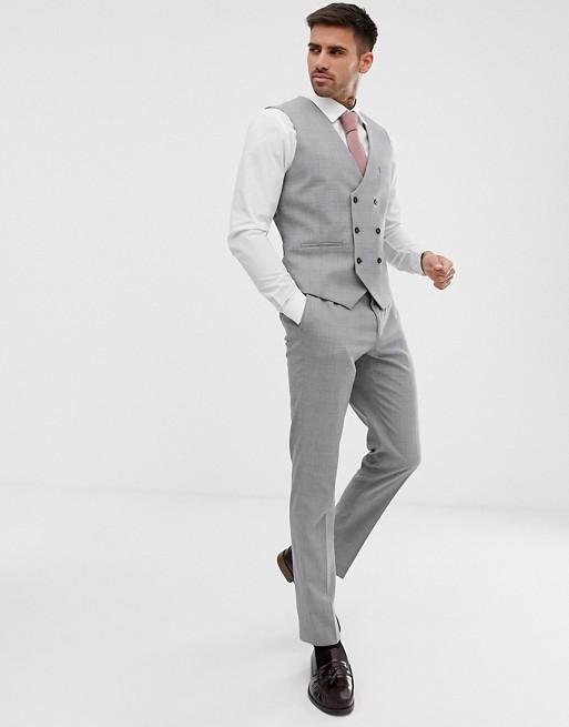 Burton Menswear – Enge, grau karierte Weste