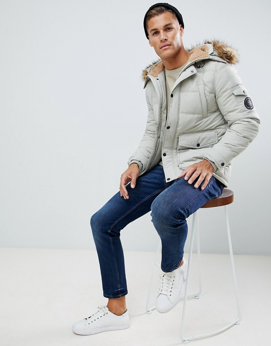 Burton Menswear Fleece Lined Puffer Jacket In Ecru by Burton Menswear London