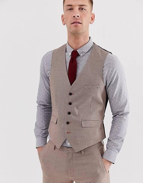 Burton Menswear - Gilet super skinny a pied de poule nero e rosso