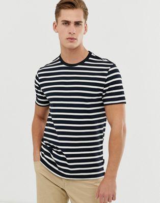 Burton Menswear – Granatowo-biały T-shirt w paski