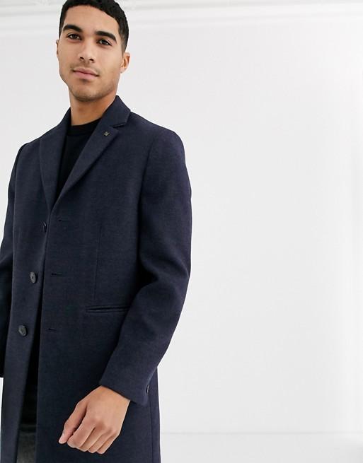 Burton Menswear – Granatowy płaszcz z materiału imitującego wełnę