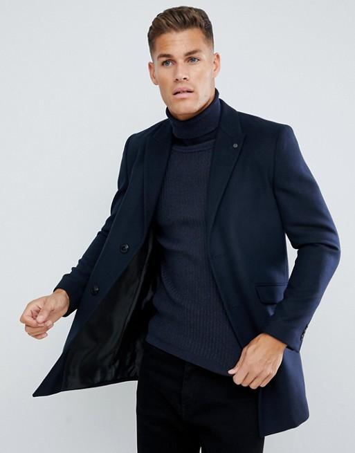 Burton Menswear - Granatowy płaszcz