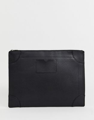Burton Menswear - Imitatieleren documenthouder in zwart