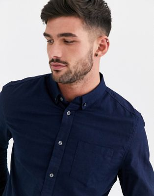 Burton Menswear Long Sleeve Oxford Shirt In Navy