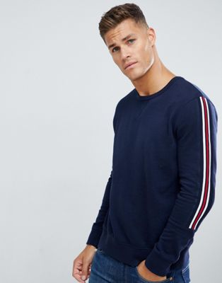 Burton Menswear long sleeved T-Shirt with taping in navy