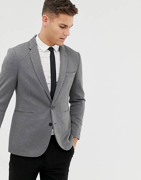 Burton Menswear pique blazer in grey