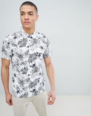 Burton Menswear Polo Shirt In Palm & Floral Print