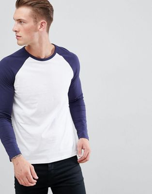 Burton Menswear Raglan Long Sleeve T-Shirt In Navy And White