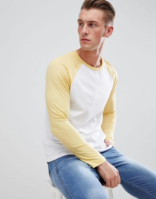 Burton Menswear Raglan Long Sleeve T-Shirt In Yellow And White