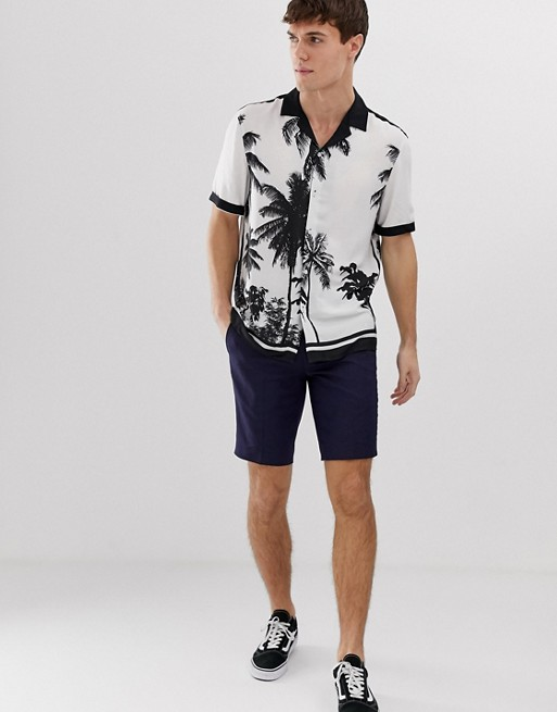 Image 1 of Burton Menswear revere shirt with palm print border in black