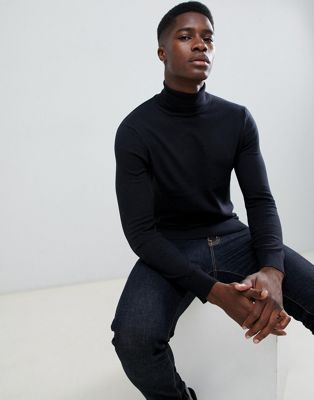 Burton Menswear roll neck jumper in black