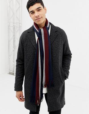 Burton Menswear scarf in navy and burgundy stripe