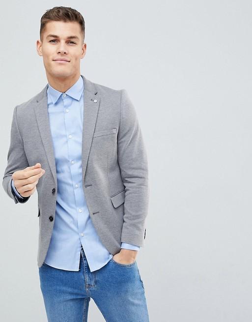 Blazer grau Jersey Burton Menswear Grau in Schmaler wT1tnHnqUp