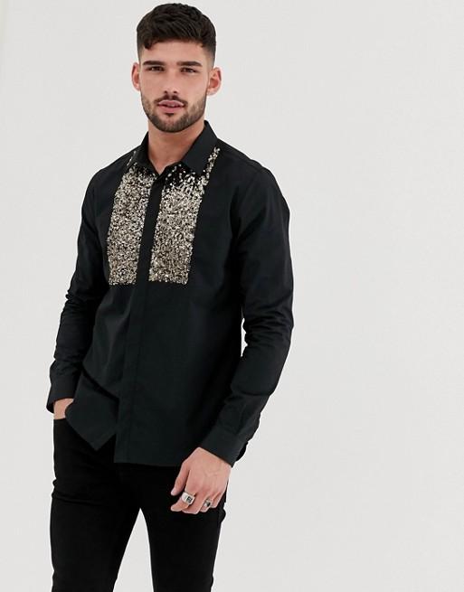 Burton Menswear – Schwarzes Latzhemd mit Pailletten
