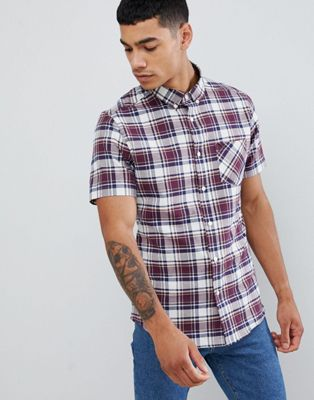 Burton Menswear shirt in burgundy check