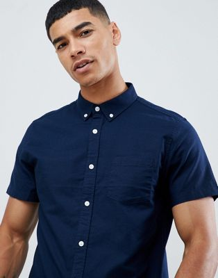 Burton Menswear short sleeve oxford shirt in navy