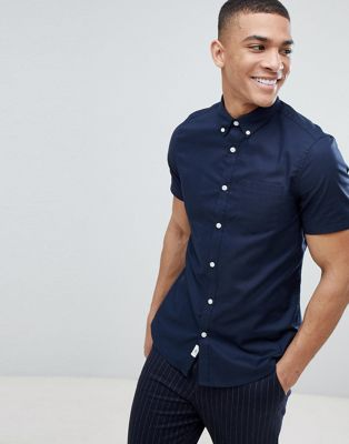 Burton Menswear Skinny Fit Oxford Shirt In Navy