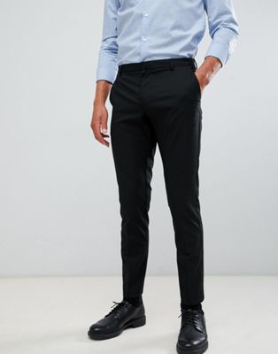 Burton Menswear skinny fit smart pants in black