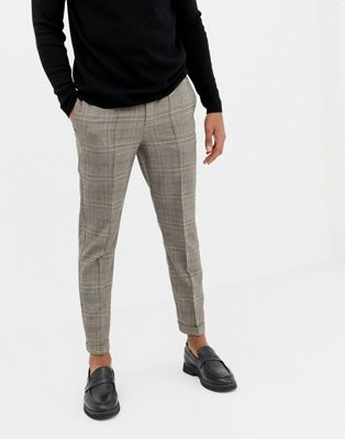 Burton Menswear smart loose tapered pants in camel
