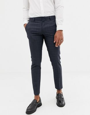 Burton Menswear smart pants in navy check