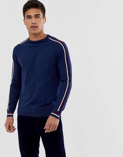 Burton Menswear sports crew neck sweater with sleeve piping in blue