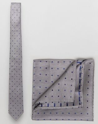 Burton Menswear Spotty Tie And Pocket Square Pack In Grey