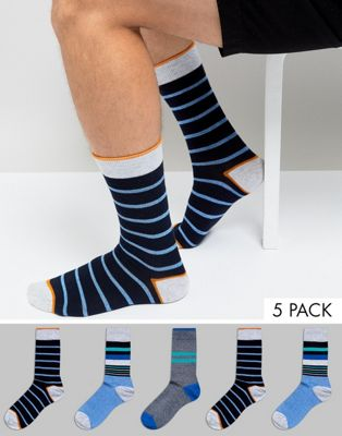 Burton Menswear Striped Socks In Multi 5 Pack
