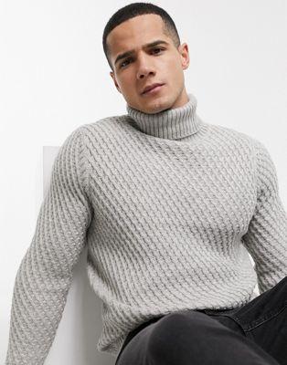 Burton Menswear – Szary sweter z golfem o grubym splocie