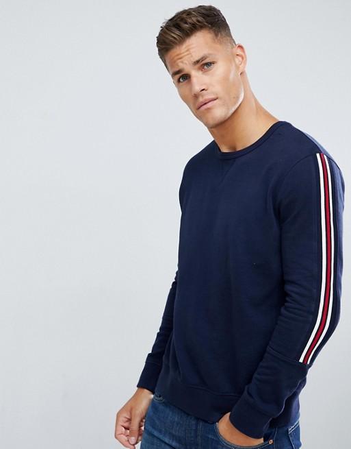 Burton Menswear - T-shirt met lange mouwen en bies in marineblauw