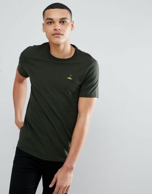 Burton Menswear T-Shirt With Palm Tree Embroidery In Khaki