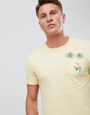 Burton Menswear t-shirt with pocket in yellow