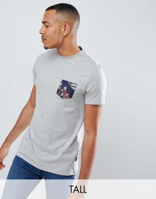 Burton Menswear Tall T-Shirt With Floral Pocket In Grey Marl