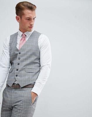 Burton Menswear wedding suit waistcoat in grey stone check