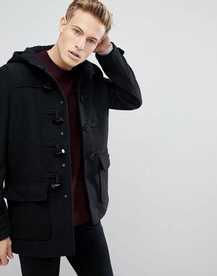 Image 1 of Burton Menswear wool duffle coat in black