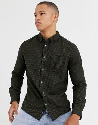 Burton Menswear – Zielona koszula z długim rękawem i nadrukiem w kratę