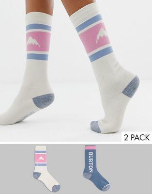 Burton Snowboards – Weekend – Mittelschwere Socken für Damen in Beige, 2-Pack