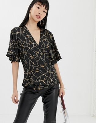Image 1 of b.Young chain print tea blouse