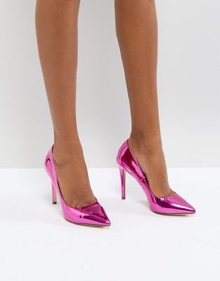 Call It Spring Gwydda Pink Metallic Court Shoes