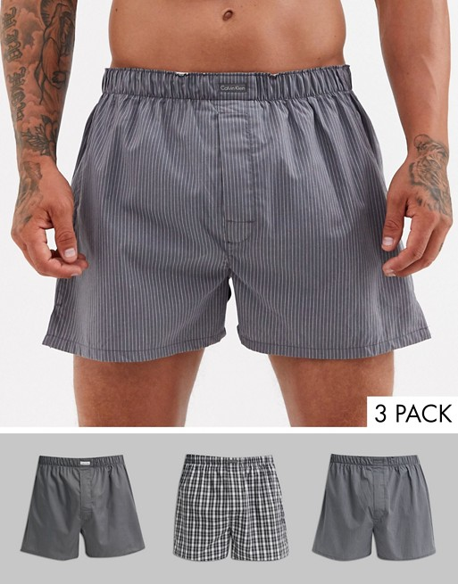 Calvin Klein 3 pack woven boxers in gray