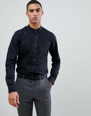 Calvin Klein – Besonders schmales Stretch-Hemd mit Grandad-Kragen in Schwarz