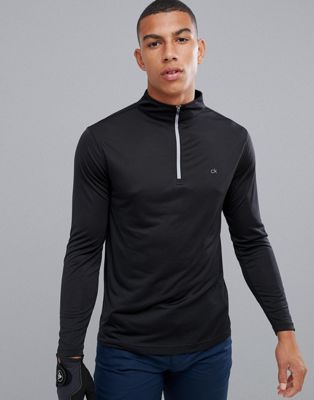 Calvin Klein Golf Harlem Tech Half Zip In Black