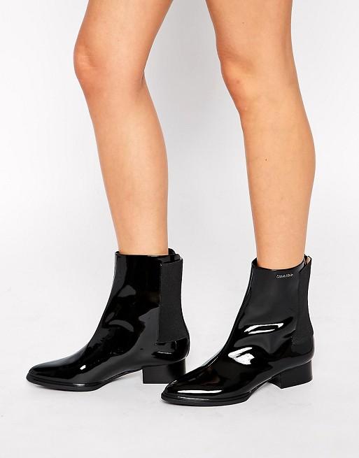 Calvin Klein Ilissa Patent Ankle Boots