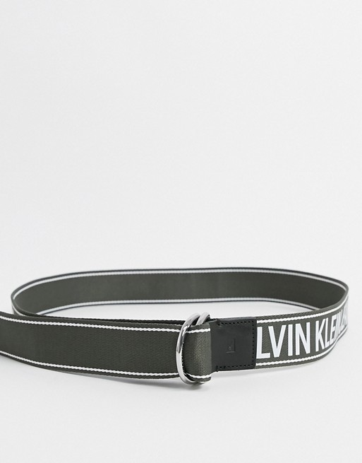 Calvin Klein Jeans double D-ring tape logo belt in khaki 40mm