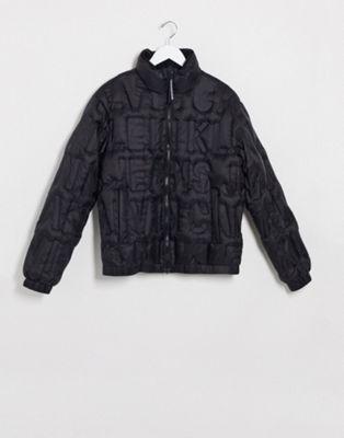 Calvin Klein Jeans padded harrington jacket in black - ASOS Price Checker