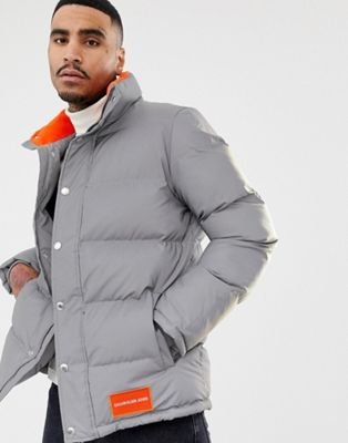 Calvin Klein Jeans reflective 3m puffer jacket with orange logo