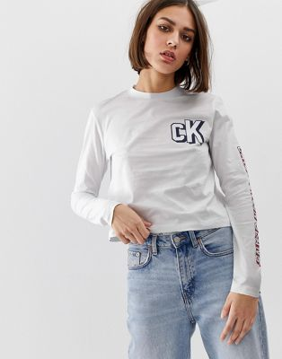 Bild 1 av Calvin Klein – Långärmad t-shirt med retro-logga